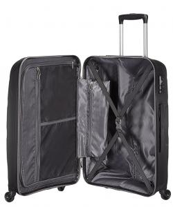 Un grand volume de rangement est proposé dans la valise rigide American tourister.