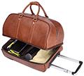 La valise Vintage de Leathario, toute en cuir, se transporte facilement avec ses roulettes